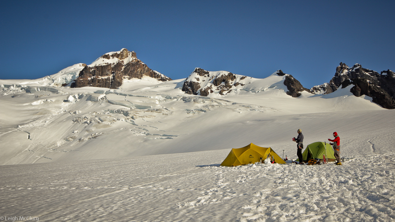 Camped out on the Coleman Glacier below the summit of Mount Baker.
