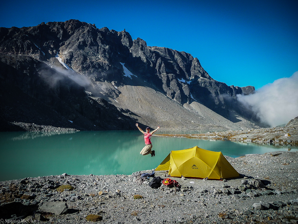 One of our first big days of hiking. After pitching our tents we continued on & Our first tent: The MSR Mutha Hubba