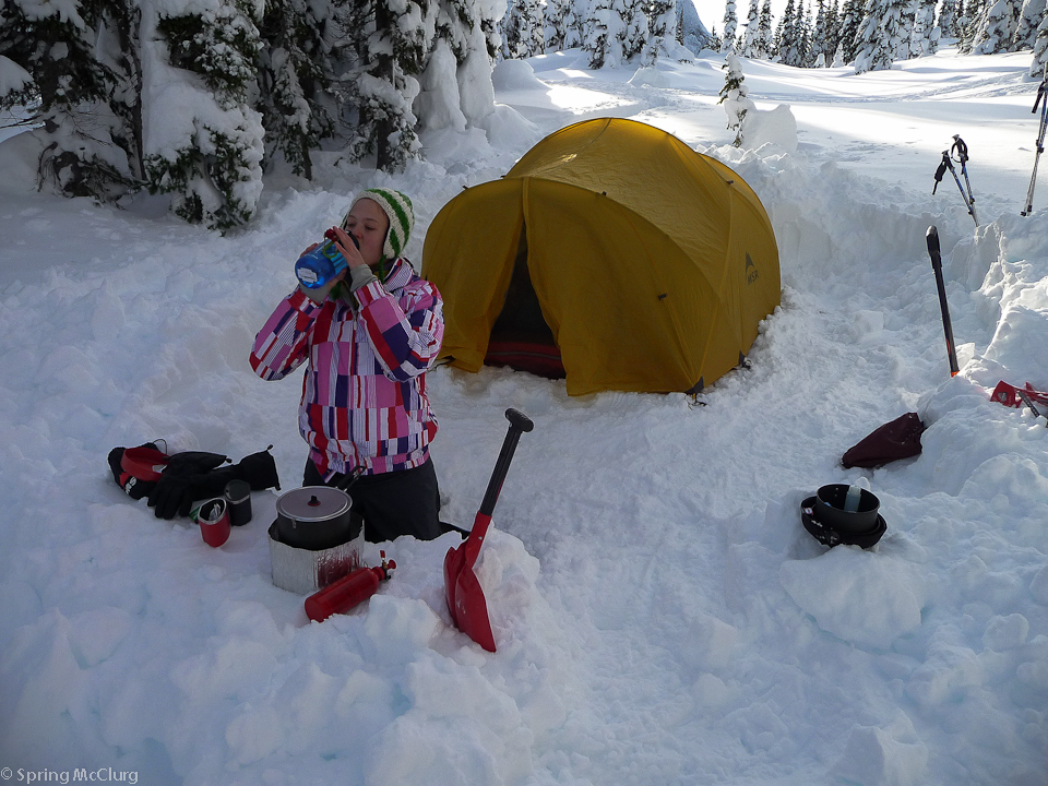 This was our first experience with winter camping. We brought fresh eggs that froze and we learnt quickly that we needed to replace all our fleece clothes with down