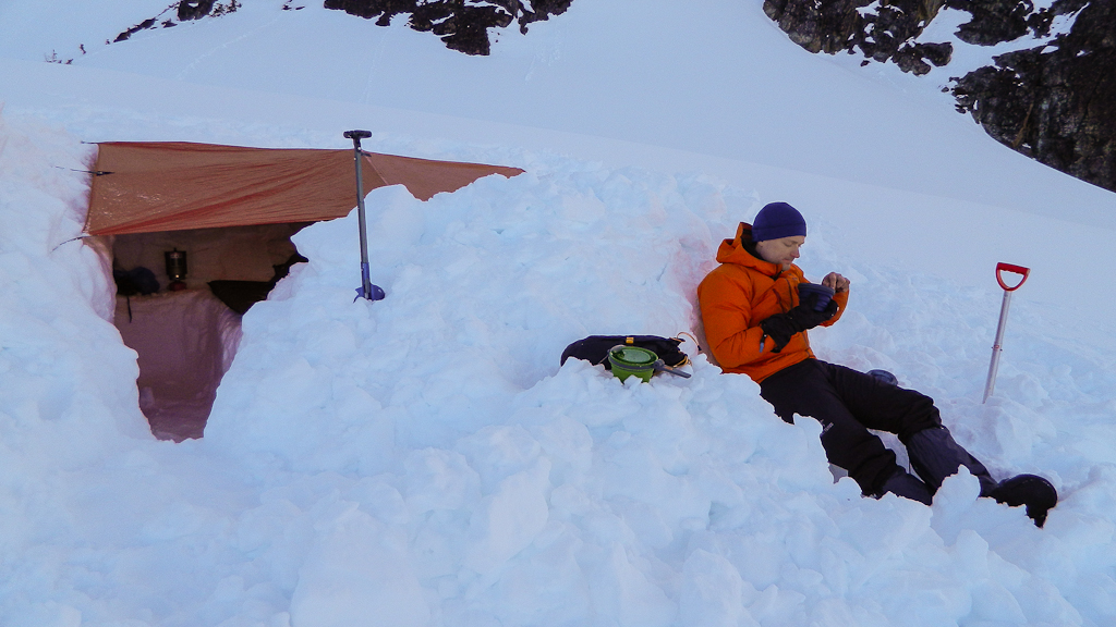 Dinner in front of our snow pit