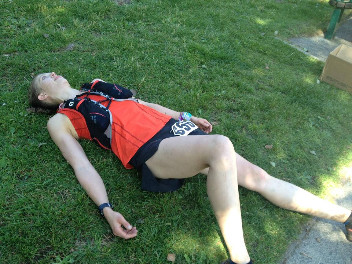 Post race collapse. Photo Credit: Sarah Stepec
