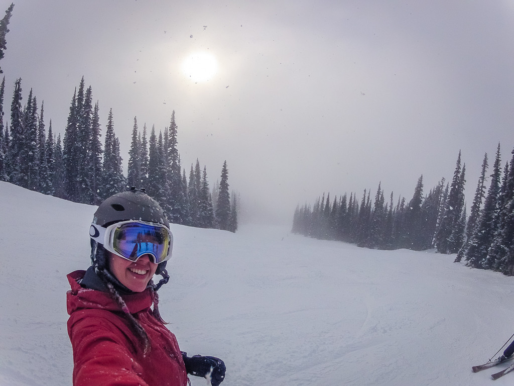 Skiing selfie to show that it was actually snowing!
