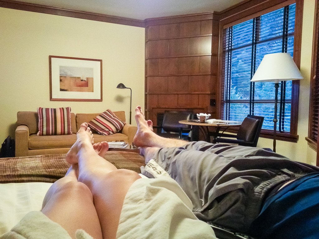 Relaxing after the pool and spa in our room.