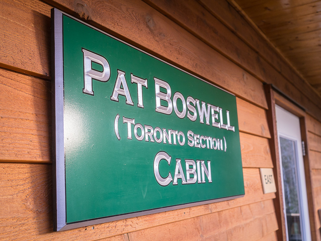 The engraved sign on the Boswell Cabin