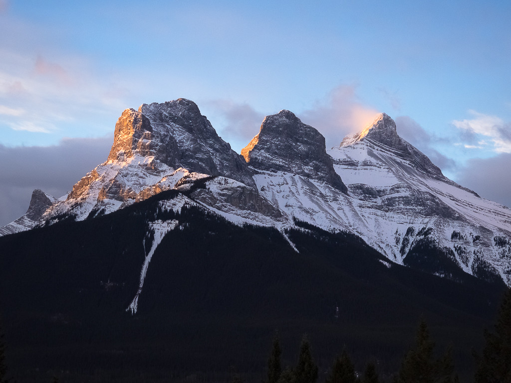 Sunrise on the Three Sisters from the Boswell Cabin