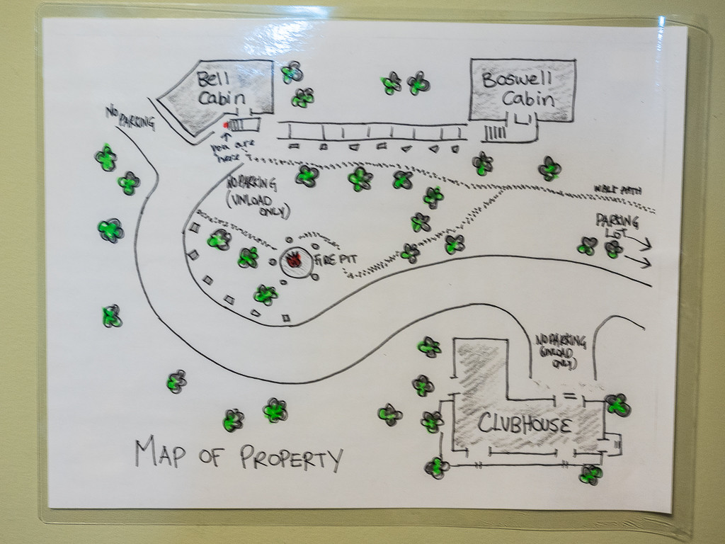 A map of the three building at the ACC Clubhouse.