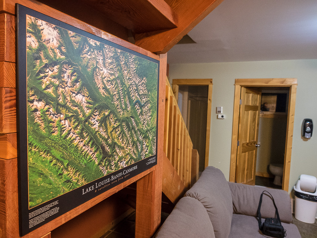 A map of the mountains to explore nearby on the wall in the Boswell Cabin