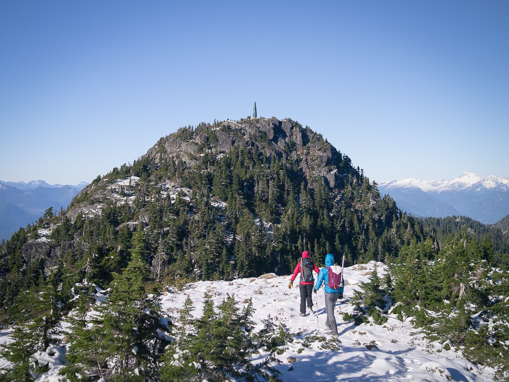 The summit of Hat in sight ahead, with the classic Radio Repeater tower on top.