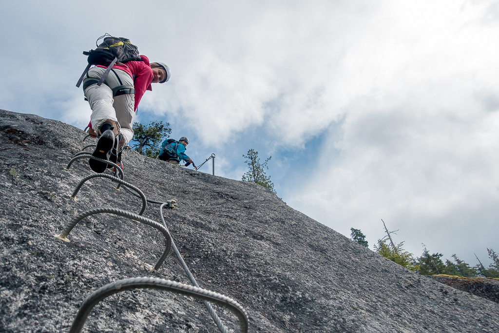 Climbing rungs at the Squamish Via Ferrata