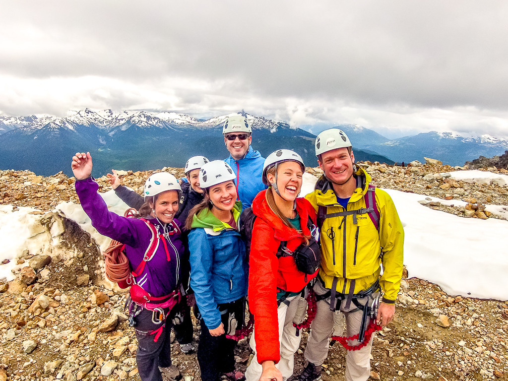 Do we look happy? Our group at the top of the Whistler Via Ferrata.