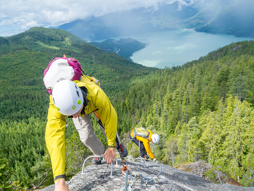 "Ascending the ""Arete"" feature on the Squamish Via Ferrata"