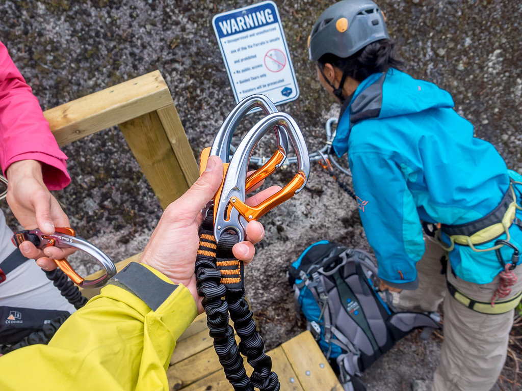 Instruction with how to use the carabiners and lanyards attached to our harnesses