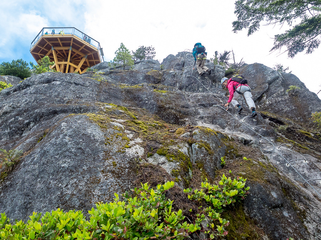 The final rungs up to the Summit Lodge at the Sea to Sky Gondola.