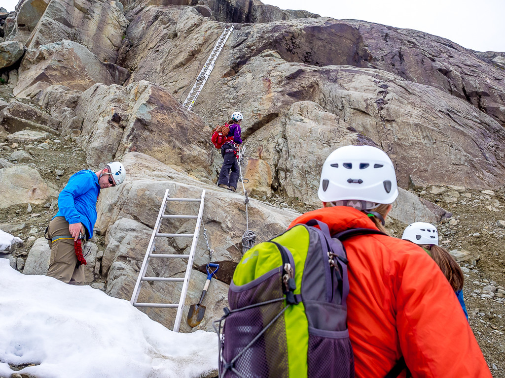 The initial ladders at the start of the Whistler Via Ferrata.