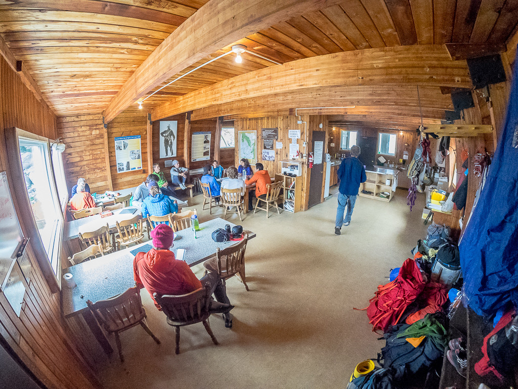 The main eating and socializing area in the Conrad Kain Hut