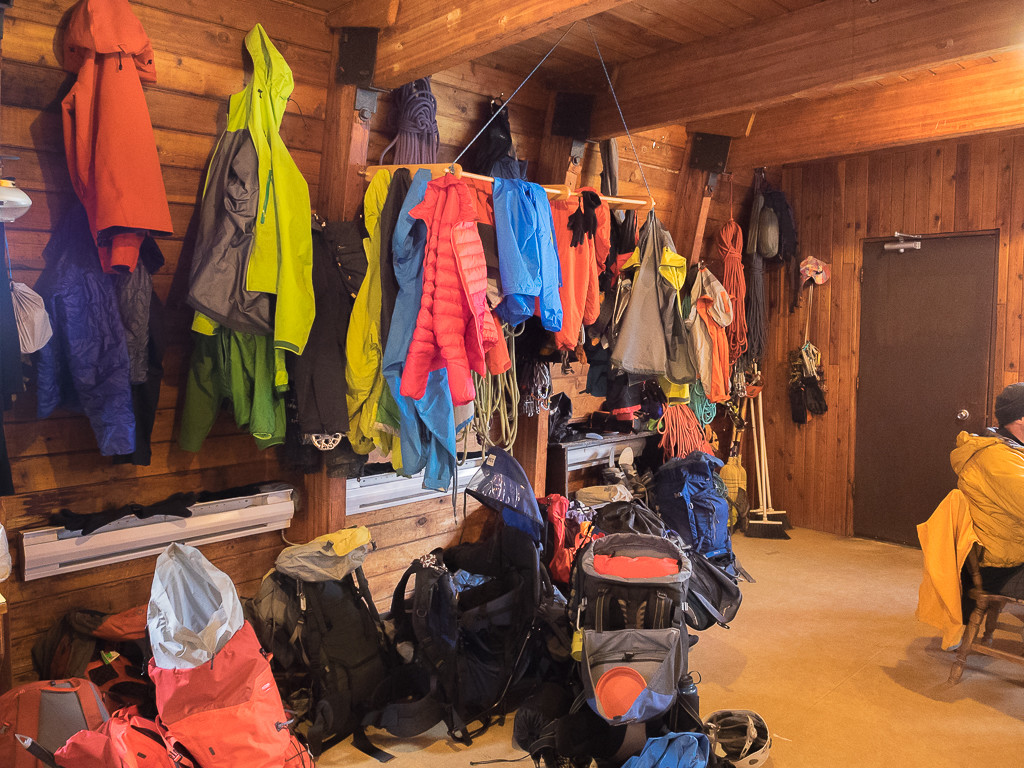 The gear storage in the evening