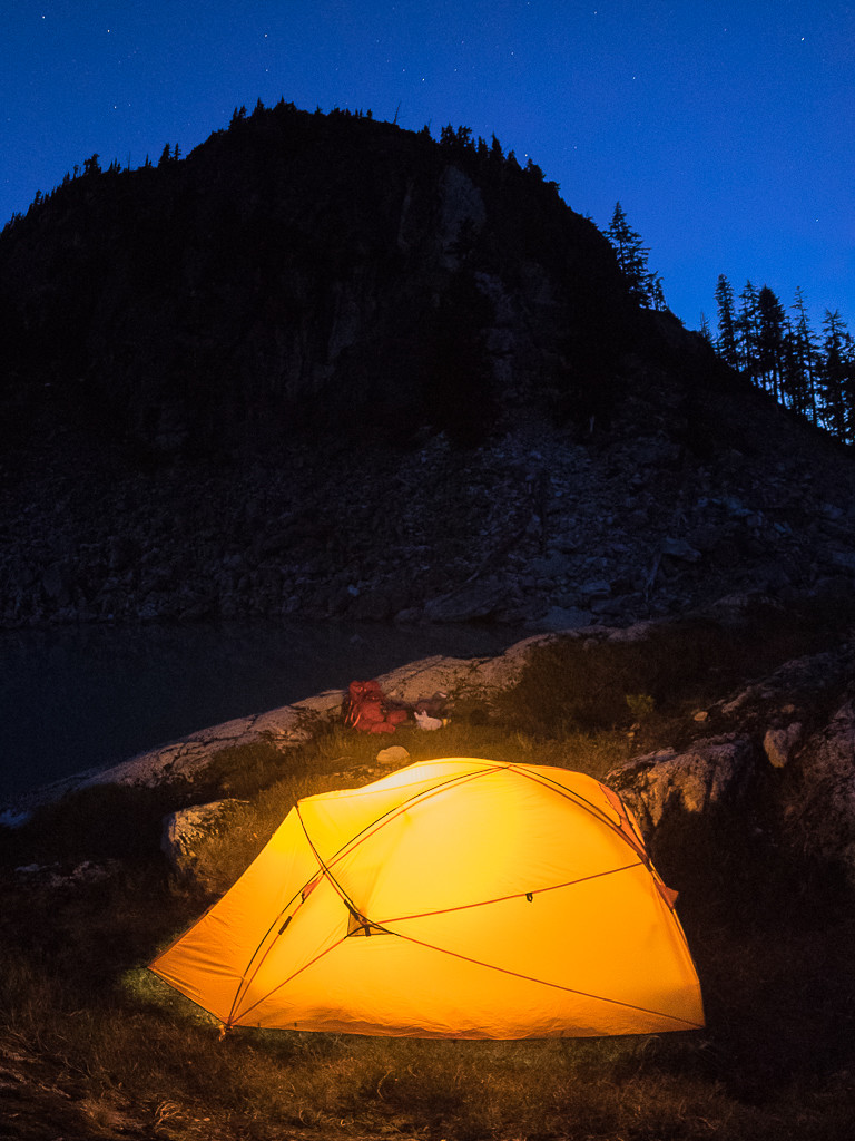 Night falls on the Kunai 2P Tent