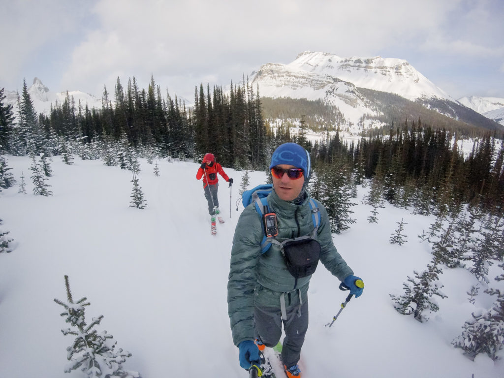 Ski touring with the Explorer on my shoulder strap