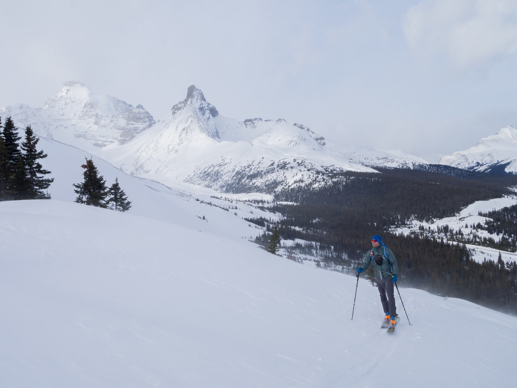 Skinning uphill to back backcountry skiing with the StretchDown RS