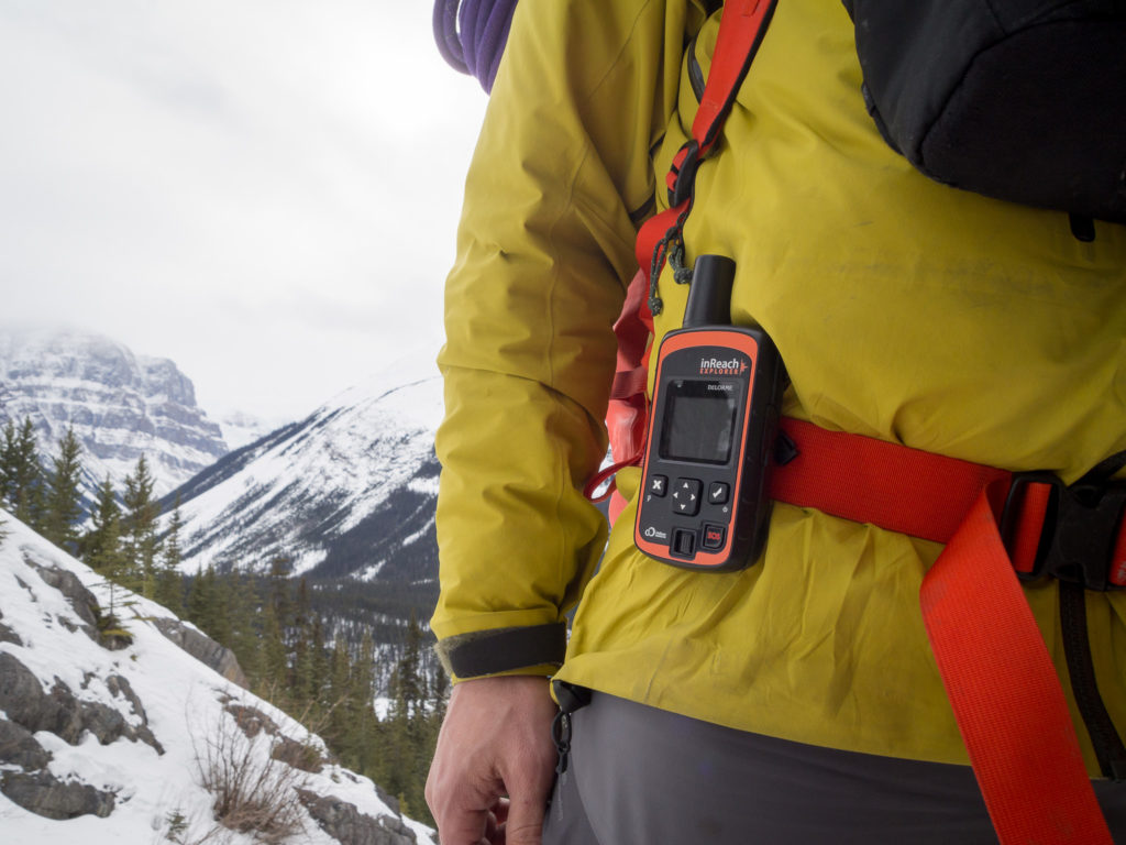 Mid way through an ice climb, the inReach Explorer clipped to my pack