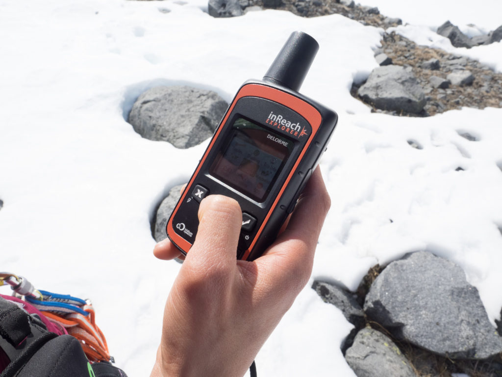 Checking our location on the inReach Explorer