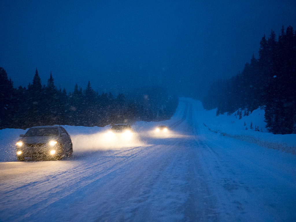Driving the Icefield Parkway on a winter night