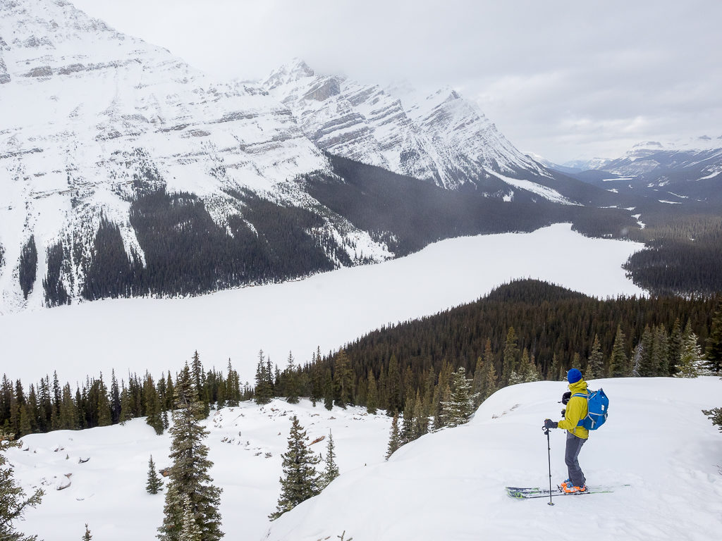 Skiing at the Bow Summit and Peyto Lake area
