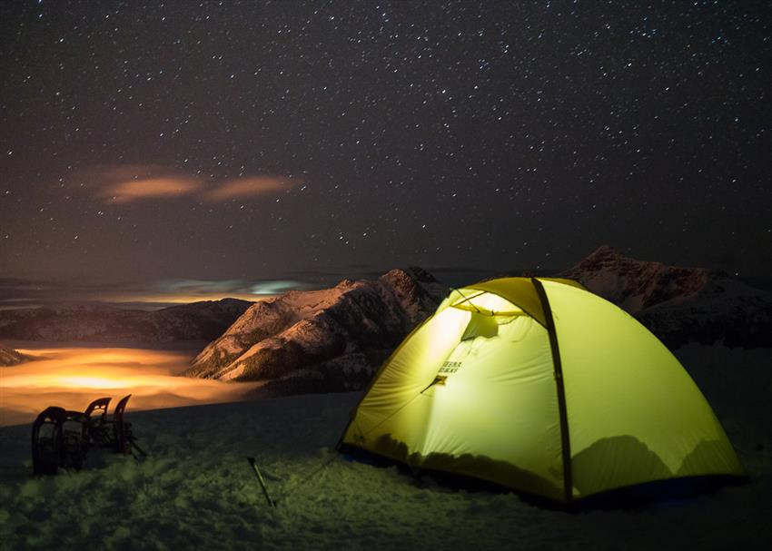 Camping on a summit above the clouds